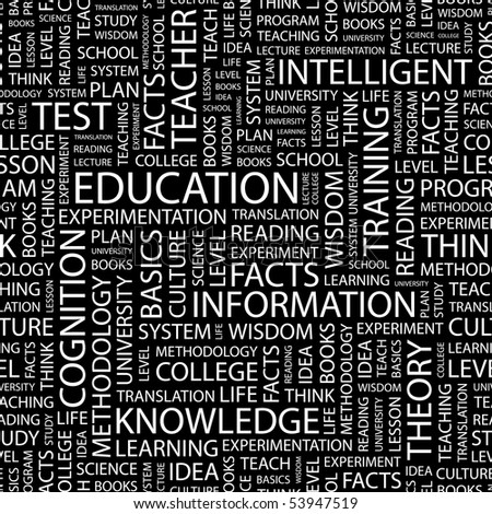 EDUCATION. Seamless vector pattern with word cloud.