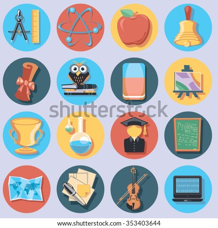 education set of icons - stock vector