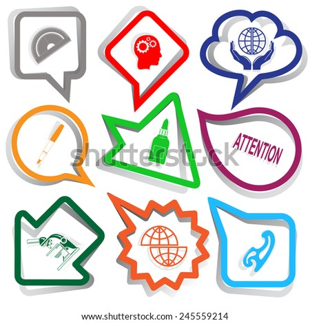 Education set. Paper stickers. Vector illustration. - stock vector