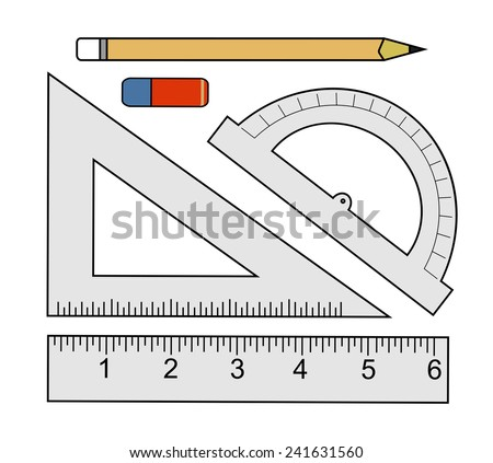 Education set. Pencil, eraser, protractor, triangle ruler, liner ruler. Vector clip art color illustrations isolated on white  - stock vector