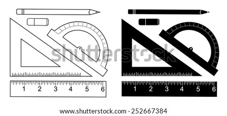 Education set. Pencil, eraser, protractor, triangle ruler, liner ruler. Vector clip art contour line and black silhouette illustrations isolated on white  - stock vector