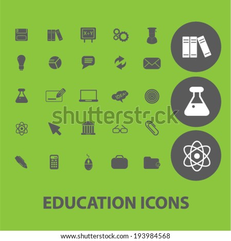 education signs: science, university, training icons set, vector - stock vector