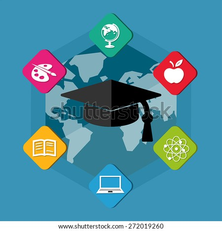education signs with black graduate cap with tassel - white symbols in colorful flat design blocks over world map, internet learning concept icons, vector - stock vector
