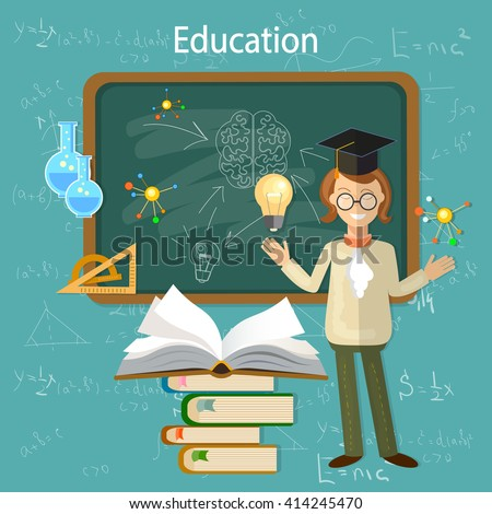 Education student at the school board student knowledge education background back to school vector illustration - stock vector