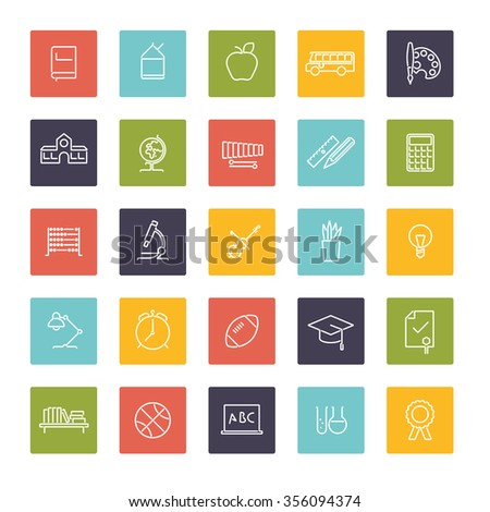 Education Symbols. Collection of twenty five education, school, college and university related line icons in colored squares - stock vector