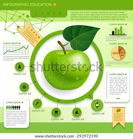 Education Template with green apple, web icons and place for your content. Concept vector illustration - stock vector