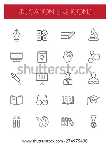 Education thin line icons set.vector illustration. - stock vector