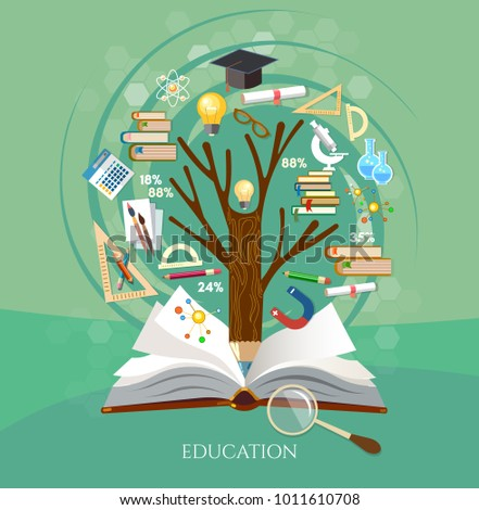 Stock images royalty free images vectors shutterstock education tree of knowledge and open book effective modern education template design back toneelgroepblik Images
