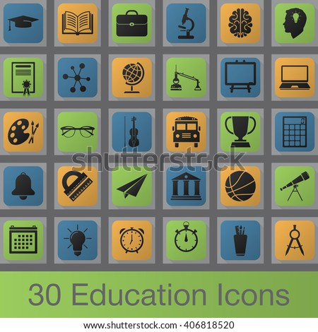education vector icons set, school modern solid symbol collection, pictogram pack