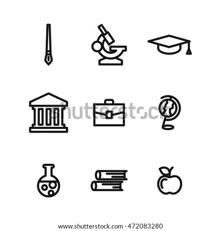 Education vector icons. Simple illustration set of 9 education elements, editable icons, can be used in logo, UI and web design
