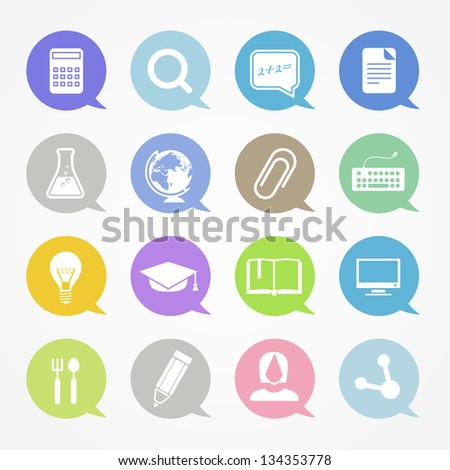Education web icons set in color speech clouds - stock vector
