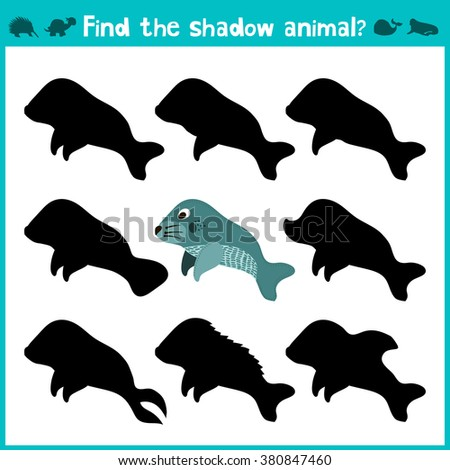 Educational children cartoon game for children of preschool age. Find the right shade cute marine manatee. Vector illustration - stock vector