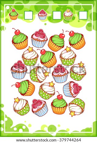 Educational counting game for preschool kids with different sweets. How many cupcakes, donuts and ice cream do you see? Cartoon vector illustration. - stock vector