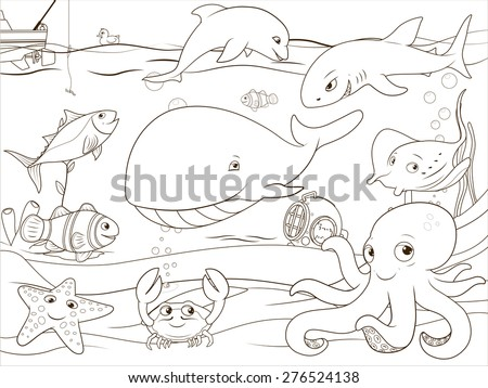 Educational game coloring book underwater life animals