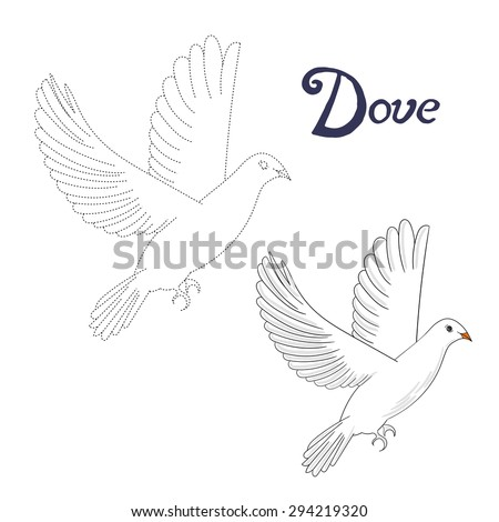 Educational game connect the dots to draw dove bird  vector illustration