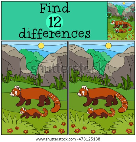 Educational game: Find differences. Mother panda walks with her little cute baby and smiles.