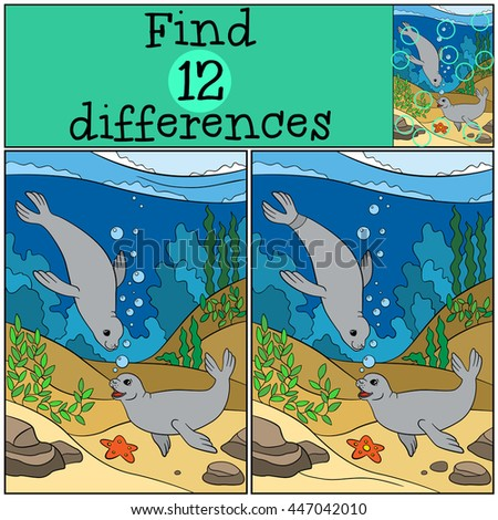 Educational game: Find differences. Two little cute seals swim and smile.