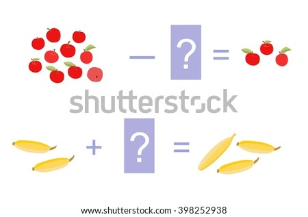 Educational game for children. Cartoon illustration of mathematical addition and subtraction. Vector image. Examples with cute colorful  apples and bananas.     - stock vector