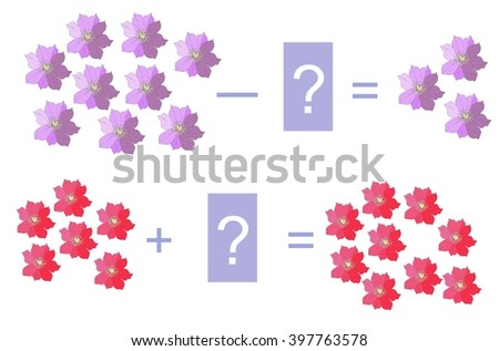 Educational game for children.Cartoon illustration of mathematical addition and subtraction. Easy editable pattern. - stock vector