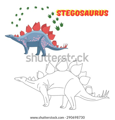 Educational Game For Children Coloring Book Dinosaur Vector Illustration