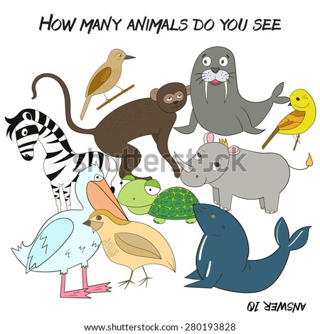 Educational game for children how many animals do you see - stock vector