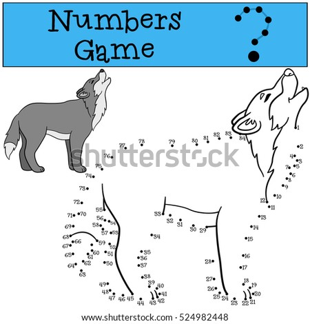 Educational game: Numbers game. Cute beautiful wolf stands and howls.