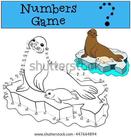 Educational game: Numbers game with contour. Mother fur seal with her little cute white-coated baby seal on the ice floe.