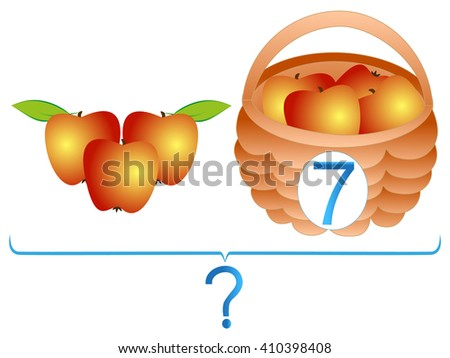 Educational games for children, mathematical addition, examples with apples. - stock vector