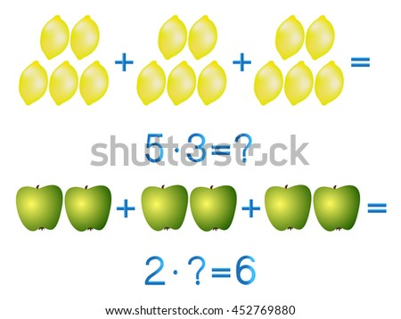 Educational games for children, multiplication action, example with lemons and apples.  - stock vector