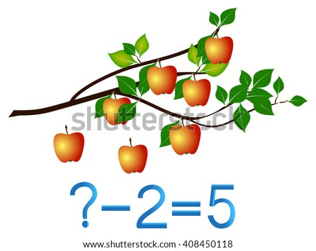 Educational games for children, subtract, apples example. - stock vector