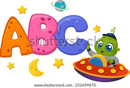 Educational Illustration Featuring an Alien in a Spaceship Reaching Out to Letters of the Alphabet - stock vector