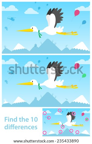 Educational puzzle for young children with two vector variations of a flying stork with ten differences for them to find with a solution - stock vector