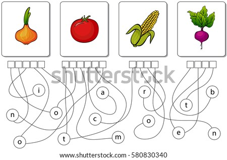 educational puzzle game for kids find the hidden names of vegetables - Hidden Pictures For Preschoolers