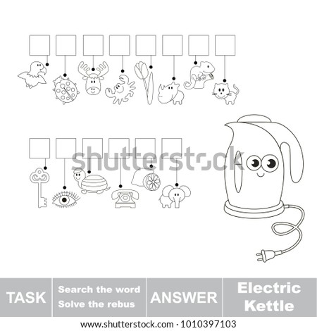 Educational Puzzle Game For Kids Find The Hidden Word Electric Kettle