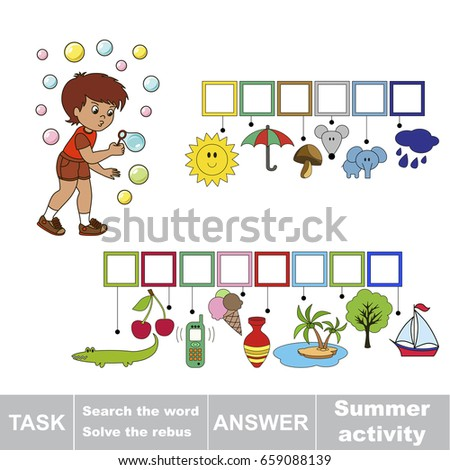 Educational Puzzle Game For Kids Find The Hidden Word Summer Activity