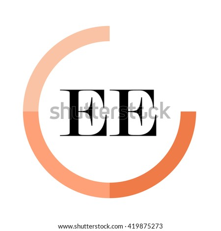 EE black letters , modern type of font , tree orange colors , simply alphabet like design identity