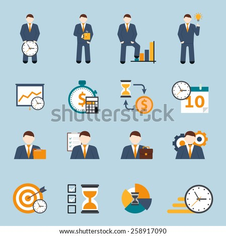 Effective office hours  time management and realistic goal planning strategy flat icons collection abstract isolated vector illustration - stock vector