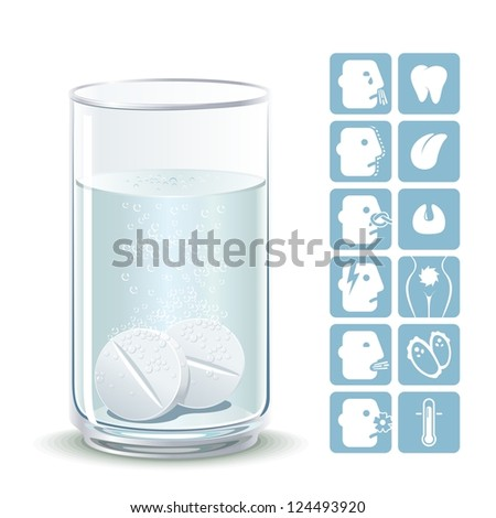 Effervescent tablets. Illustration painkillers soluble tablets with icons ailments. - stock vector