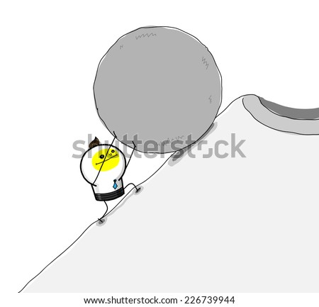 Efforts up! A business man is  pushing  a big rock to the peak,and he almost  success. - stock vector