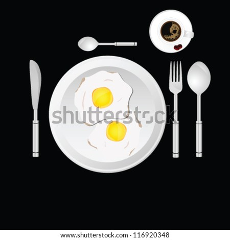 egg and cup of coffee vector illustration - stock vector