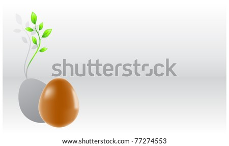 Egg casts a shadow in the form of green sprouts - stock vector