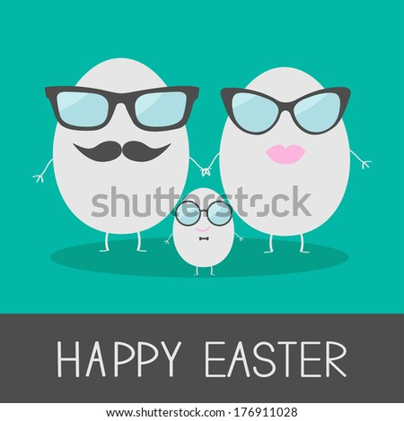 Egg easter family with lips, mustaches and eyeglasses. Cute and funny card. Vector illustration. - stock vector