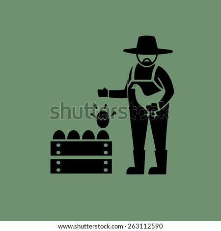 Egg farming icons.vector - stock vector