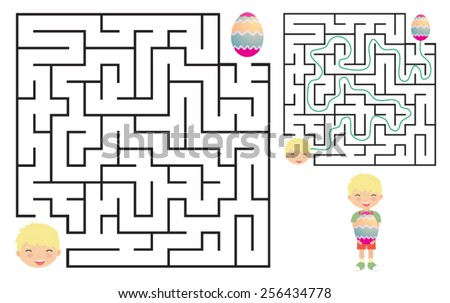 Egg hunt maze for kids with a solution. Vector illustration - stock vector