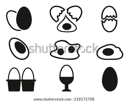 egg icons set - stock vector