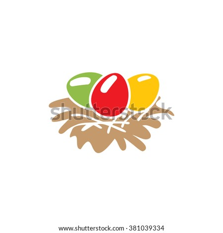 Egg in a nest. Easter. Christian symbol. Easter template.. Food.  Symbol, icon, isolated pattern stationery. Vintage egg in a nest. Golden symbol of Easter. Gold.  Modern illustration of flat lines. - stock vector