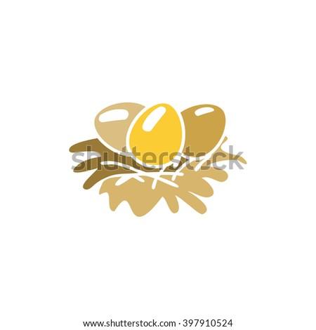 Egg in a nest. Easter. Christian symbol. Easter template.. Food. Symbol, icon, isolated pattern stationery. Vintage egg in a nest. Golden symbol of Easter. Golden modern bulk illustration - stock vector