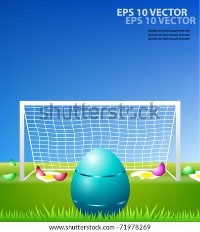 Egg on soccer field. - stock vector