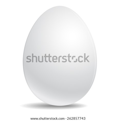 Egg Realistic white icon isolated on white background. Template for Easter patterns and images. Vector illustration