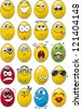 Egg shaped emoticon collection - stock vector